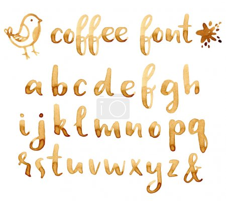 Illustration for Creative hand drawn coffee stains font for your design. - Royalty Free Image