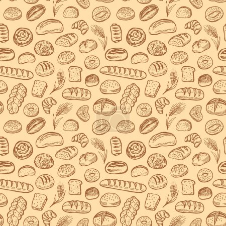 Hand drawn bakery doodles vector seamless pattern....