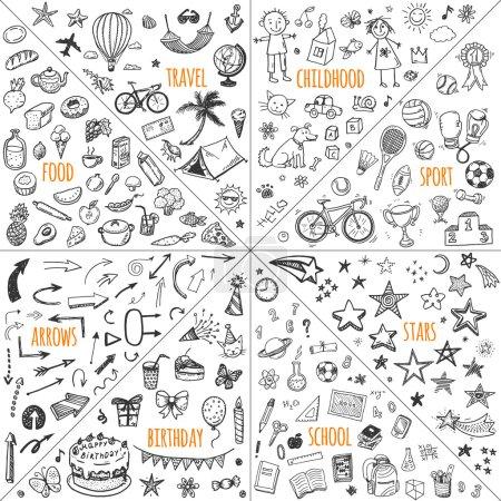 Illustration for Mega doodle design elements set. travel, childhood, sport, school, birthday, arrows, food. - Royalty Free Image