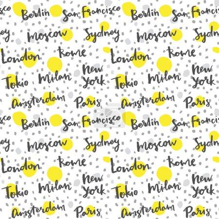 Photo pour Villes célèbres avec calligraphie artisanale, fond de la mode - image libre de droit