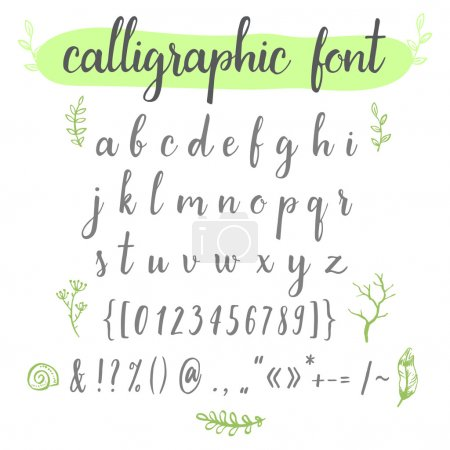 Illustration for Watercolor calligraphic hand drawn alphabet font with  numbers, ampersand and symbols. - Royalty Free Image
