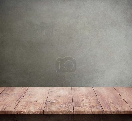 Wood table with concrete texture background