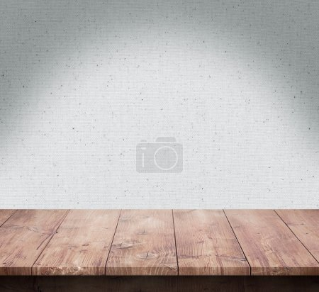 Photo for Wood table with fabric texture background - Royalty Free Image