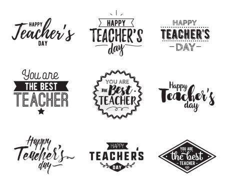 Illustration pour Happy enseignants jour vectoriel typographie ensemble. Conception de lettrage pour carte de vœux, logo, timbre ou bannière . - image libre de droit