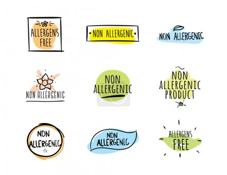 Allergens free, non allergenic product. Set of iso...