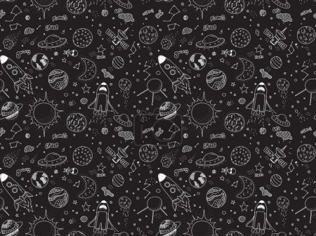 Illustration for Seamless pattern. Cosmic objects set. Hand drawn vector doodles. Rockets planets constellations ufo stars satellite, etc. Space collection. Black and white - Royalty Free Image
