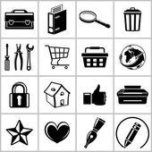 Monochromatic set of useful web icons