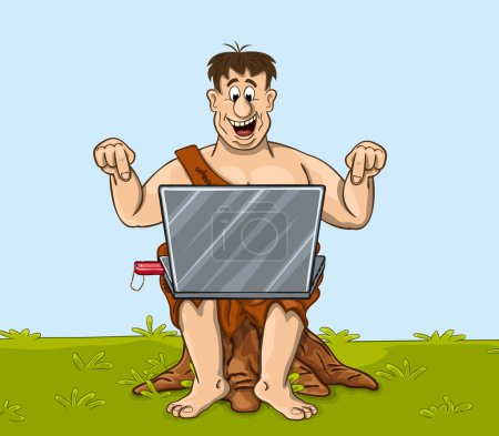 Illustration for Happy primitive man is working with the laptop. Fanny cartoon character - Royalty Free Image