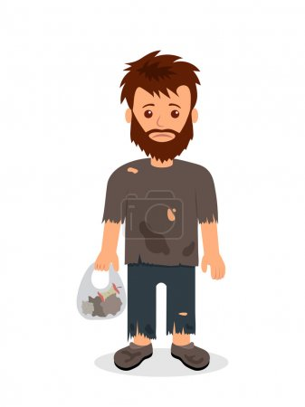 Homeless. Shaggy man in dirty rags and with a bag in his hand. Isolated character bum for infographics