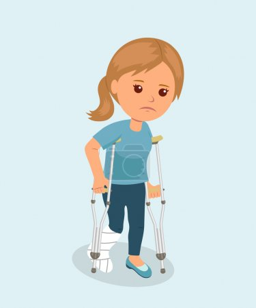 Illustration for Female with crutches and a medical plaster bandage on leg. Safety concept. Health insurance. Bone fracture. Isolated character. - Royalty Free Image