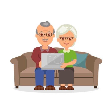 Sozialkonzept ältere Paare surfen im Internet mit Laptop. Karikatur fröhliches Rentnerehepaar auf der Couch sitzend mit einem Laptop im flachen Stil.