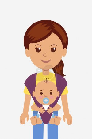 Illustration for Young mother with her baby in a sling. - Royalty Free Image