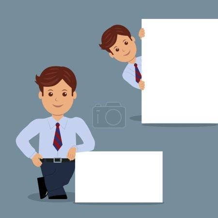 Illustration pour Ensemble d'homme d'affaires avec bannière blanche vierge dans diverses actions. Personnage gestionnaire masculin dans le design plat . - image libre de droit