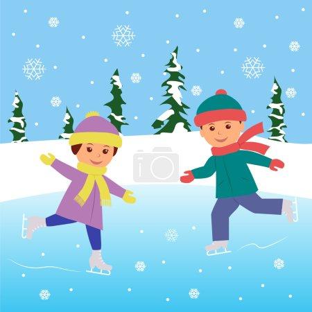 Two kids practicing ice skating on frozen lake.