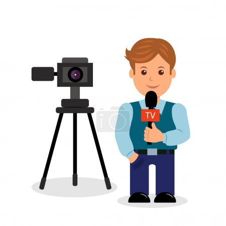 Journalist.  Isolated male character on a white background with a camera and a microphone in her hand.