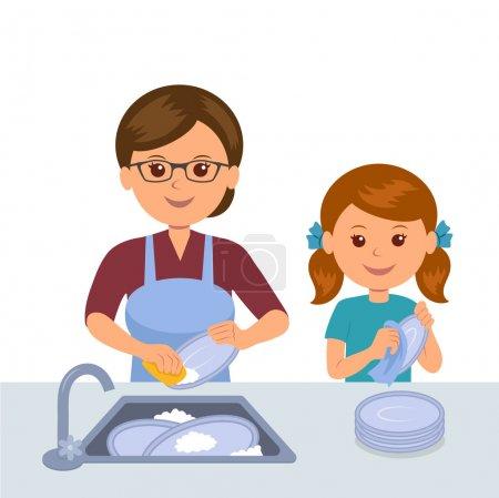 Illustration pour Mère et fille lavent la vaisselle. Concept travail conjoint des mères et des filles. Fille aide mère nettoyer dans la cuisine . - image libre de droit