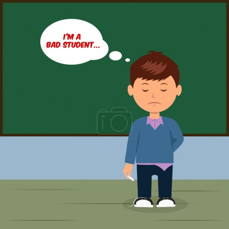 Sad schoolboy at the blackboard. Concept design bad student