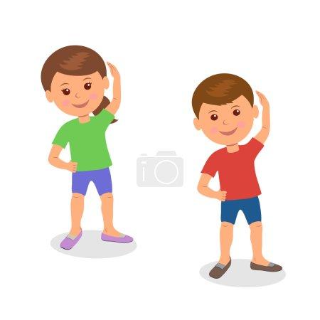 Kids yoga. Boy and girl standing perform gymnastic exercises.