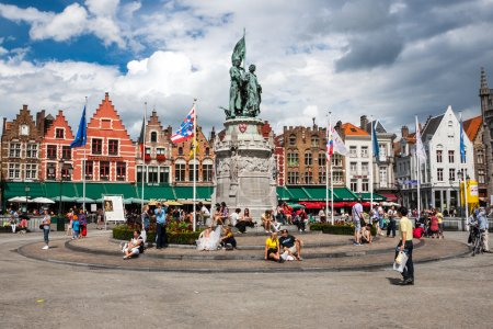 View of the historical centre of Bruges, Belgium. ...