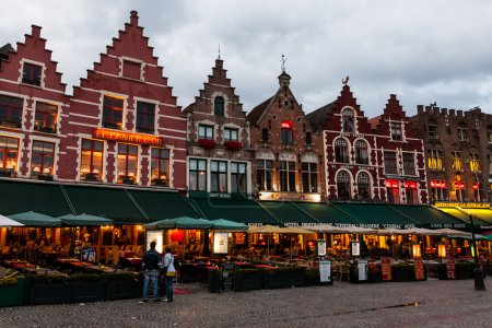 Typical buildings in Bruges, Belgium, at night. Th...