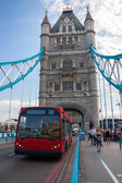 Tower Bridge and Red Bus in London, UK