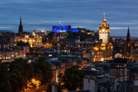 Photo for Edinburgh Skyline from Calton Hill at night, Scotland, UK. Calton Hill is a hill in central Edinburgh, Scotland, situated beyond the east end of Princes Street and included in the city's UNESCO World Heritage Site. - Royalty Free Image