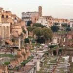 Roman Forum at dusk in Rome, Italy. The Roman Foru...