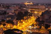 Cityscape of Rome at night, Italy