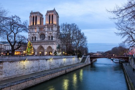 Notre Dame de Paris at dusk, France.