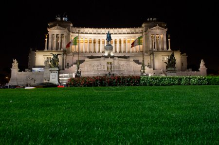 The Victor Emmanuel II monument at night.