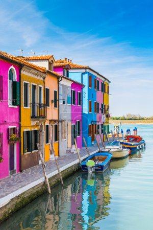 Painted houses of Burano, in the Venetian Lagoon, Italy.