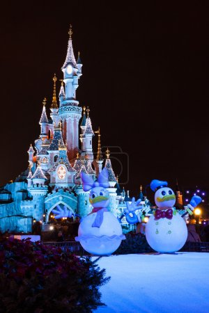 Disneyland Paris Castle during Christmas Celebrations at night