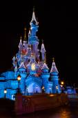 Disneyland Paris Castle at night during the Christmas Celebration