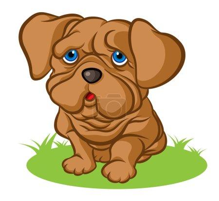 Illustration pour Illustration d'un petit chiot triste aux yeux bleus tristes - image libre de droit