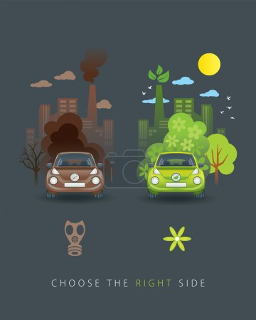 Eco green and brown car