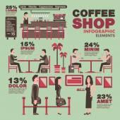 Coffee shop info graphic elementsVintage theme