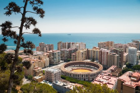 Aerial view of Malaga, Spain, with bullfighting arena