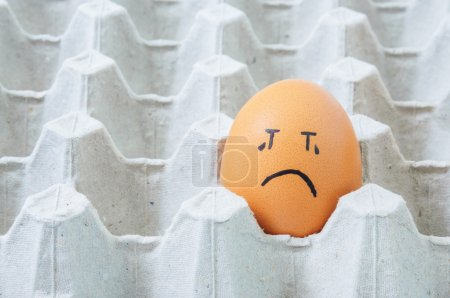 Photo for Brown eggs face crying arranged in carton - Royalty Free Image
