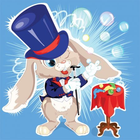 Vector cartoon bunny conjurer