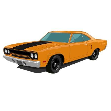 Orange muscle car, vector. American car....