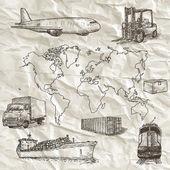 Logistics hand drawn isolated elements