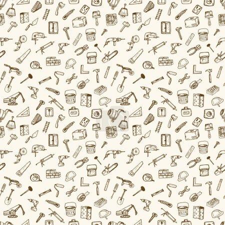 Illustration pour Grand ensemble d'icônes de la construction. Éléments tirés à la main . - image libre de droit