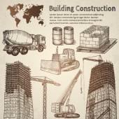 Building construction sketch Hand drawn vector illustration
