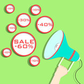 Megaphone present discounts on green background Big sale big d