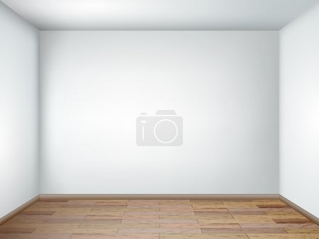 Illustration for Interior with empty room with white walls and wooden floor. Vector illustration eps 10. - Royalty Free Image