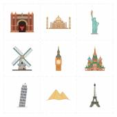 This is a vector illustration of 9 flat landmark icons