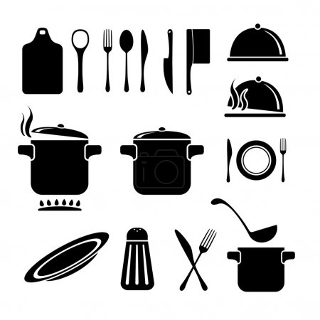Illustration for Kitchen vector icons - Royalty Free Image