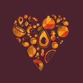 Vector colorful  fruit heart