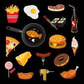 Modern food vector icon set