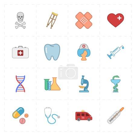 Illustration pour Ceci est une illustration vectorielle de 16 icônes de médecine plate - image libre de droit